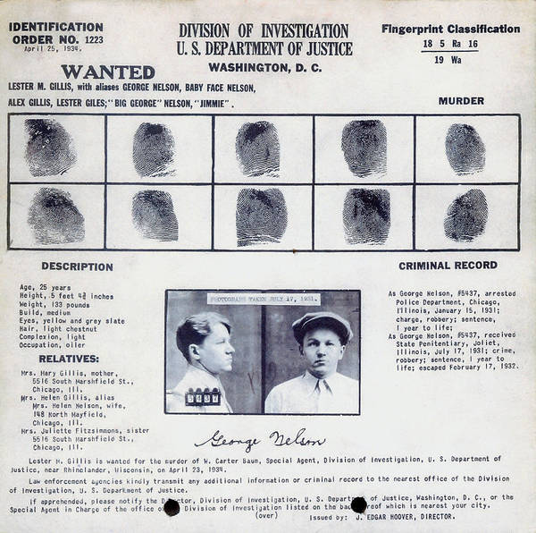 Photograph - Baby Face Nelson Wanted Poster, 1934 by Science Source