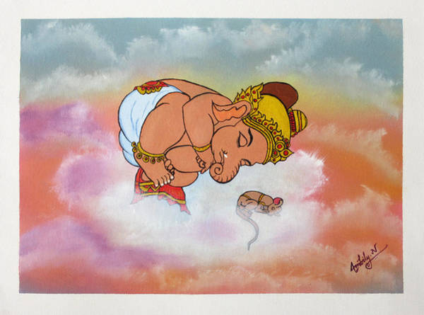 Ganesh Painting - Baby Ganesh Sleeping by Ambily N