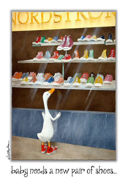 Sneakers Painting - baby needs a new pair of shoes...NOTECARD by Will Bullas