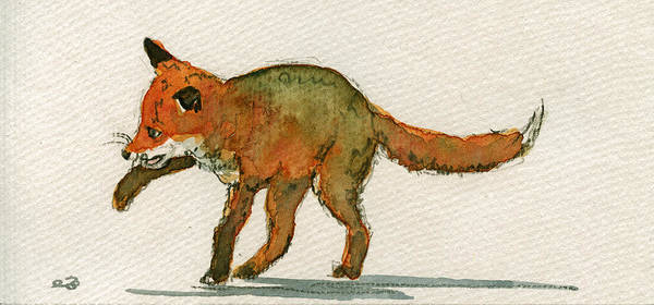 Playing Painting - Baby Red Fox Playing by Juan  Bosco