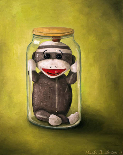 Sock Monkey Painting - Baby Sock Monkey  Preserving Childhood 5 by Leah Saulnier The Painting Maniac