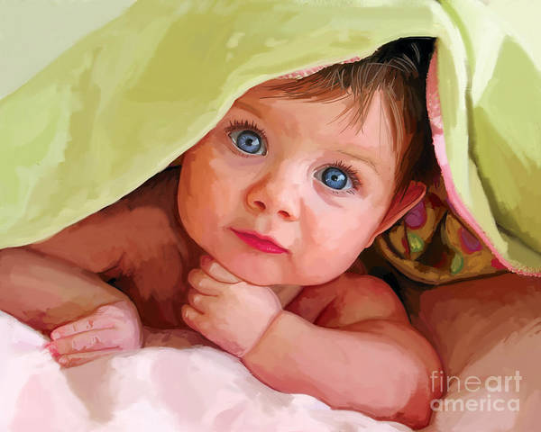 Snuggle Painting - Baby Under Blanket by Tim Gilliland