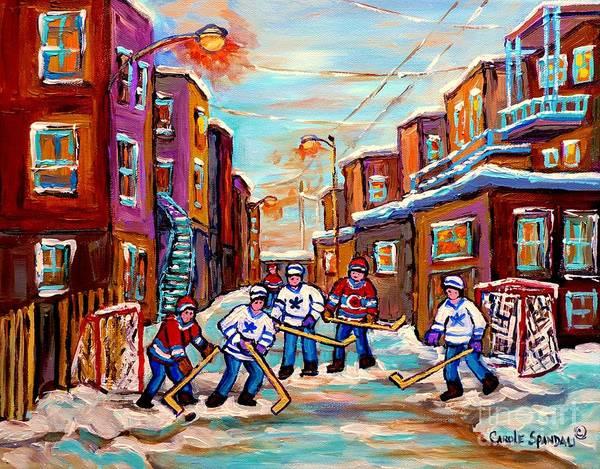 Painting - Back Lane Hockey Practice Pointe St.charles Montreal City Winter Scene Painting Carole Spandau by Carole Spandau