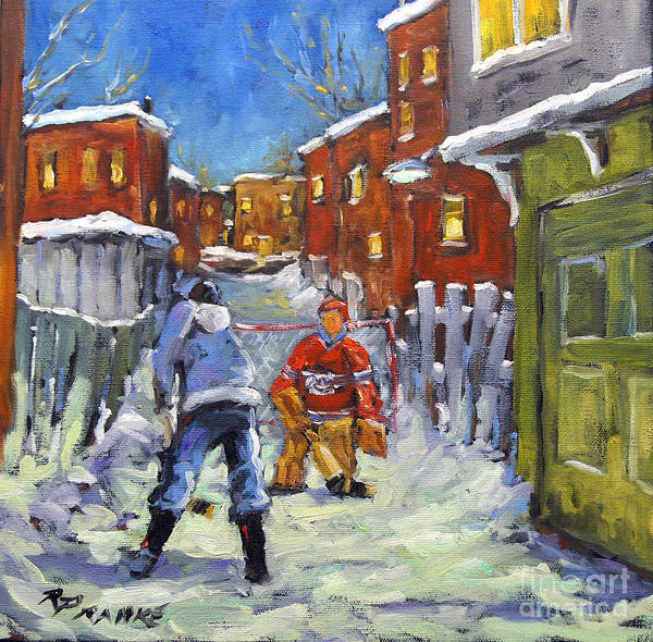 Art In Canada Painting - Back Lane Hockey Shoot Out By Prankearts by Richard T Pranke