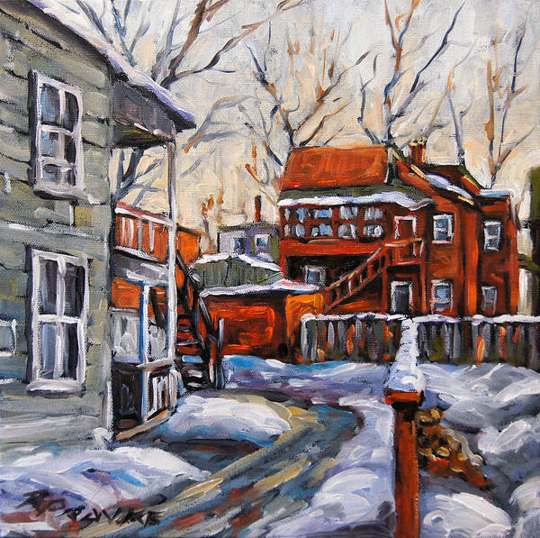 Montreal Street Scene Wall Art - Painting - Back Lanes 02 Montreal By Prankearts by Richard T Pranke