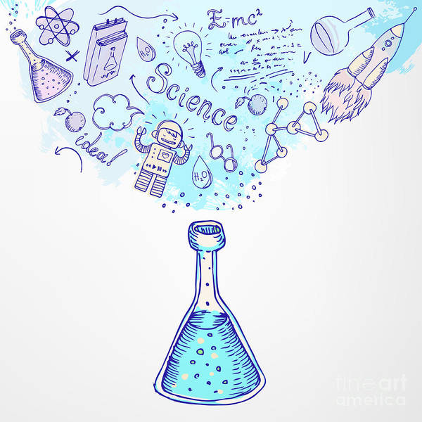 Chemistry Wall Art - Digital Art - Back To School Science Learning Symbols by Gorbash Varvara