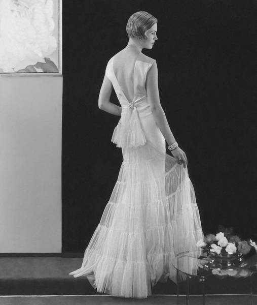 Evening Photograph - Back View Of A Model Wearing An Evening Gown by Edward Steichen