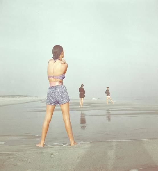 Male Photograph - Back View Of Three People At A Beach by Serge Balkin