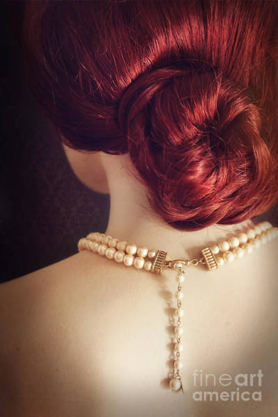 Photograph - Back View Of  Woman Wearing A Pearl Necklace by Sandra Cunningham