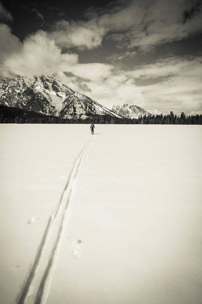 Wall Art - Photograph - Backcountry Skier Under Mount Moran by Russ Bishop