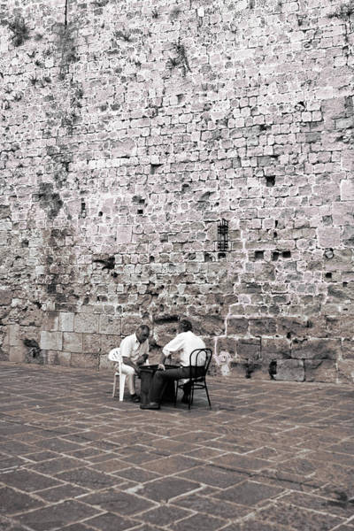 Photograph - Backgammon At The Ancient Wall by Lorraine Devon Wilke