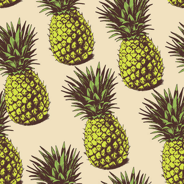 Pineapples Digital Art - Background With  Pineapples by Ola-ola