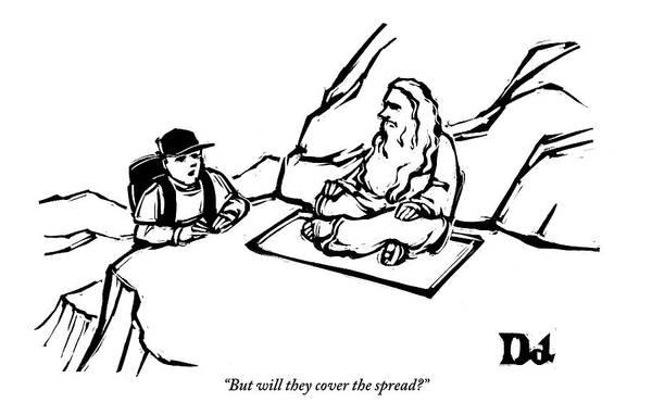 Guru Drawing - Backpacker Speaks To A Guru On The Side by Drew Dernavich