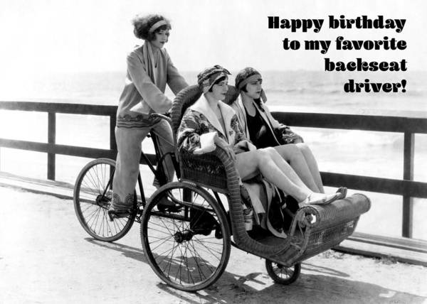 Wall Art - Photograph - Backseat Driver Greeting Card by Communique Cards