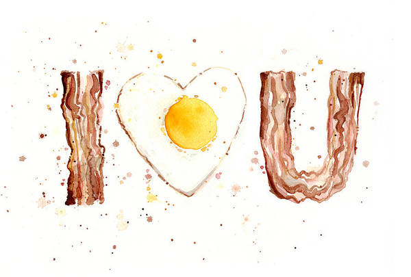 Wall Art - Painting - Bacon And Egg I Love You by Olga Shvartsur