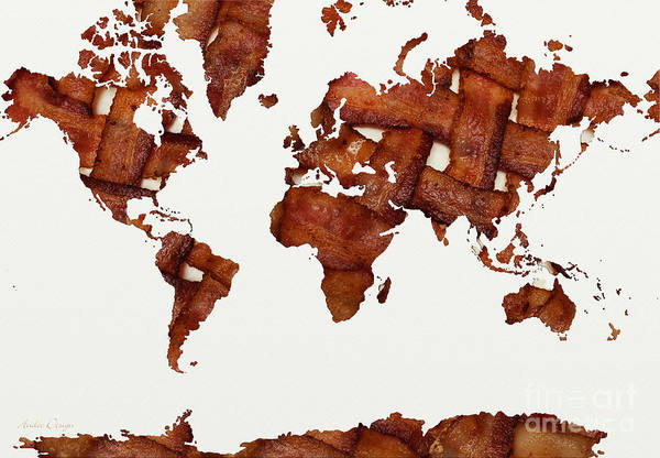 Mixed Media - Bacon World 2 by Andee Design
