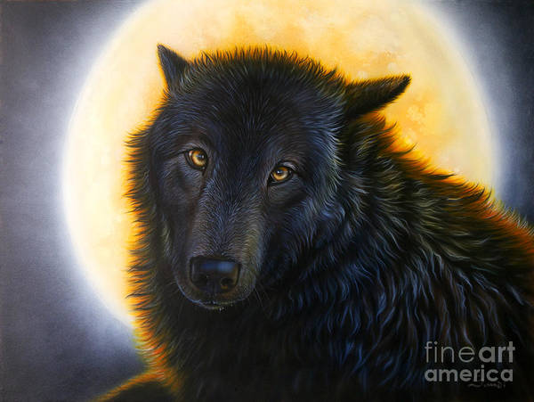 Full Moon Painting - Bad Girls Have Halos Too by Sandi Baker