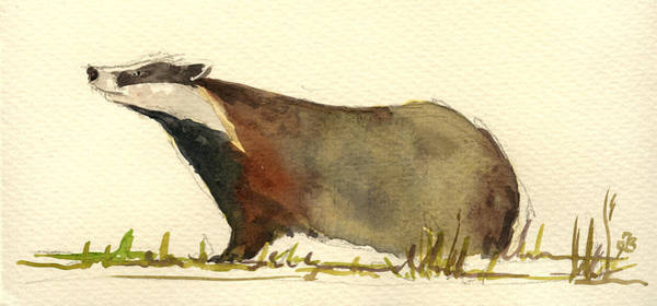Grass Painting - Badger Grass by Juan  Bosco
