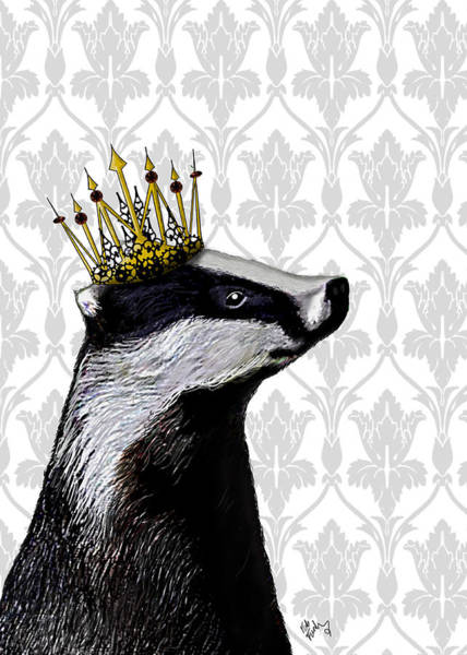 Regal Digital Art - Badger King by Kelly McLaughlan