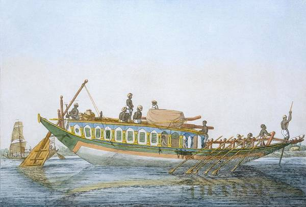 Rudder Painting - Badjera, A Cabined River Craft by Franz Balthazar Solvyns