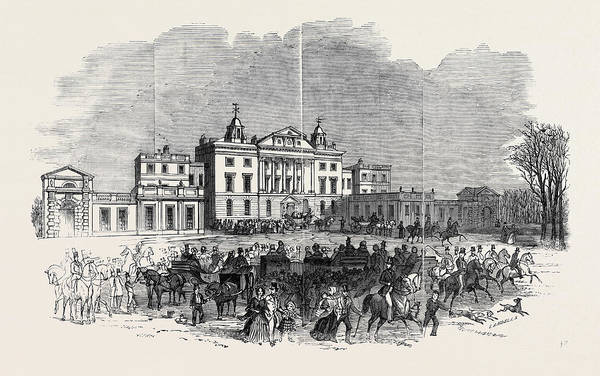 Feb Wall Art - Drawing - Badminton House, And The Lawn, On Saturday Morning by English School