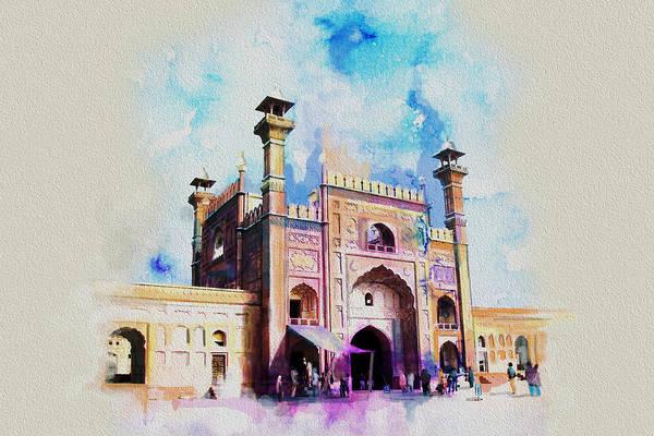 Wall Art - Painting - Badshahi Mosque Gate by Catf