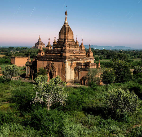 Photograph - Bagan, Ancient Temple Lit By Moonlight by Martin Puddy