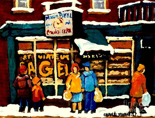 Painting - Bagel Shop Paintings St Viateur Open 24 Hrs Montreal Depanneurs Delis Bakeries Art Carole Spandau by Carole Spandau