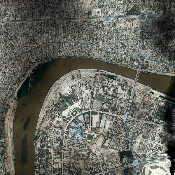 City Centre Photograph - Baghdad by Geoeye/science Photo Library