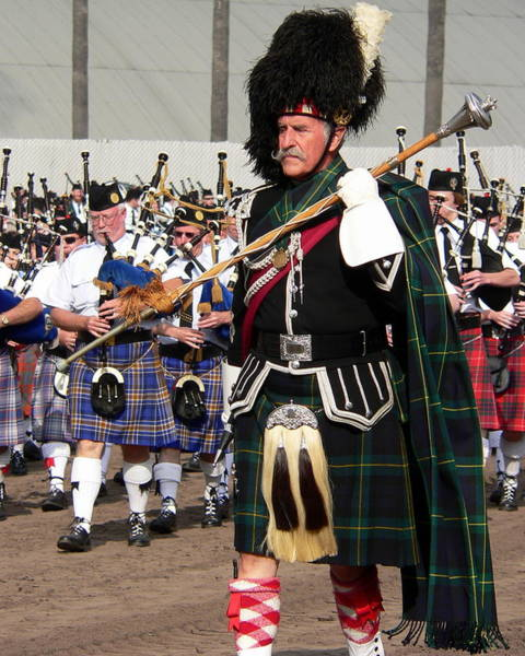Photograph - Bagpipe Band Drum Major by Jeff Lowe