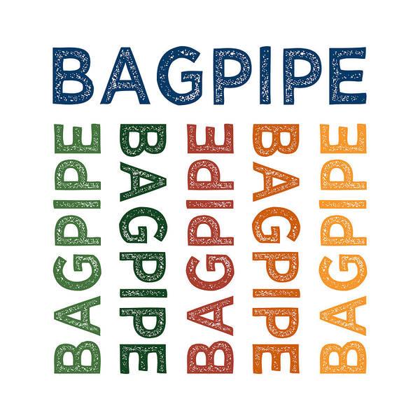 Bagpipes Wall Art - Digital Art - Bagpipe Cute Colorful by Flo Karp