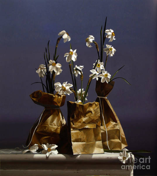 Wall Art - Painting - Bags Of Narcissus by Lawrence Preston