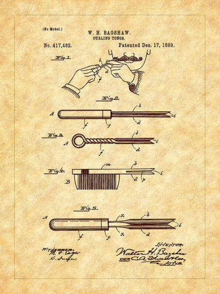 Photograph - Bagshaw 1889 Curling Tong Patent Art by Barry Jones