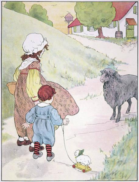 Mother Goose Drawing - Bah Bah Black Sheep, 1916 by Granger