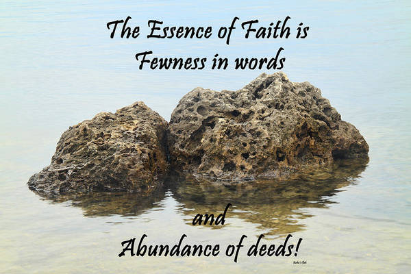 Lessons Photograph - Bahai Quote On Rocks by Rudy Umans