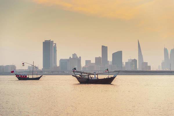 Bahrain Photograph - Bahrain Manama Skyline And Dhows At by Mlenny