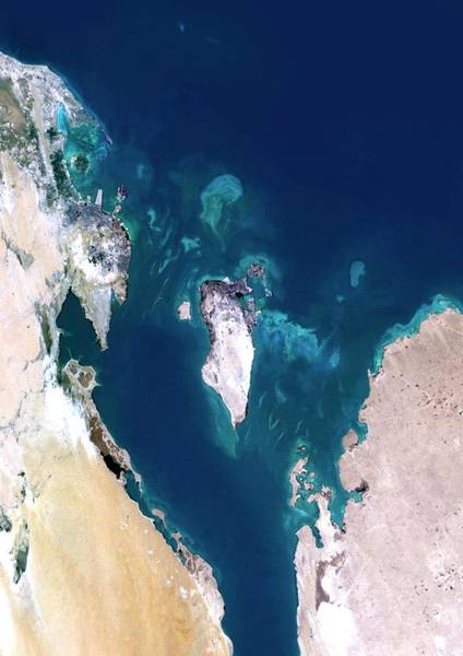 Landsat 7 Wall Art - Photograph - Bahrain by Planetobserver/science Photo Library