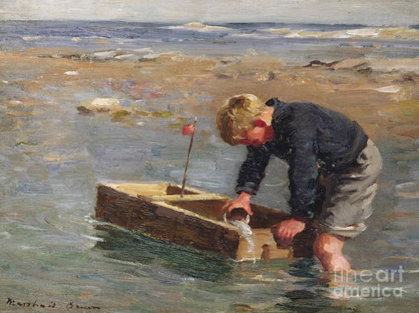 Signature Painting - Bailing Out The Boat by William Marshall Brown