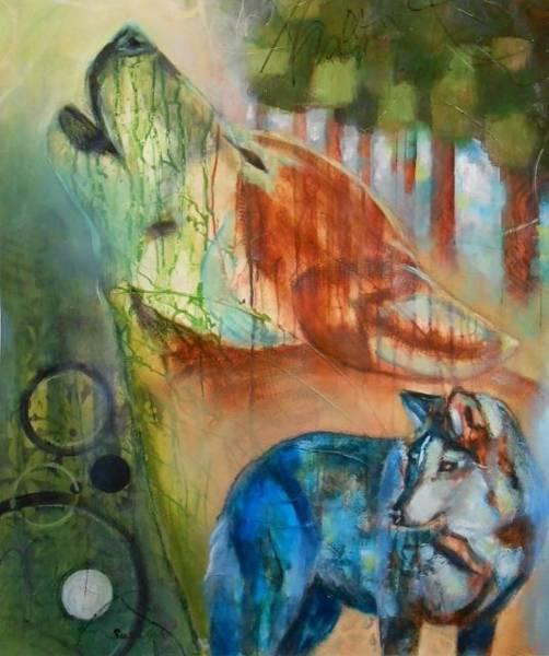 Inking Painting - Bakari II- Hopeful - Abstract Wolves by Susan Goh