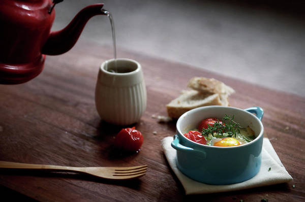 Teapot Photograph - Baked Eggs With Romano Beans, Parmesan by Marta Greber