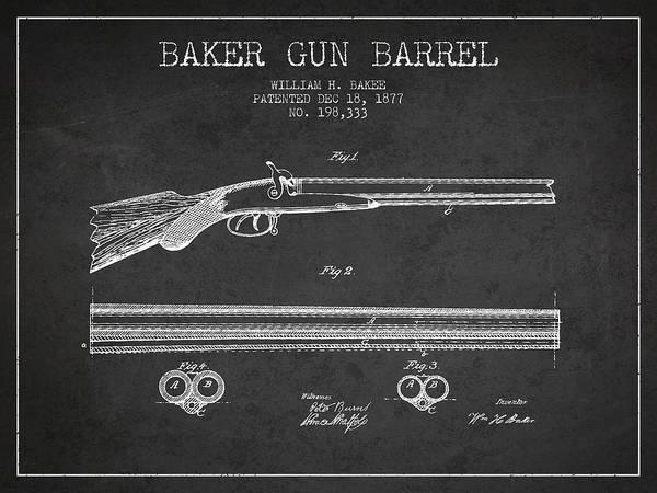 Weapons Digital Art - Baker Gun Barrel Patent Drawing From 1877- Dark by Aged Pixel