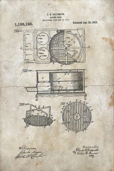 Digital Art - Baking Oven Patent 1915 by Paulette B Wright