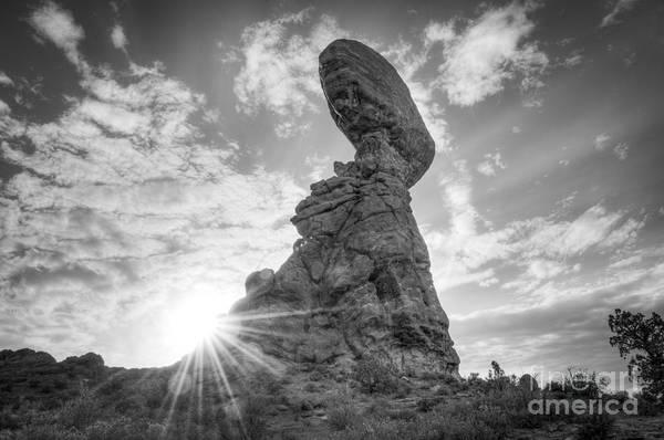 Balancing Rocks Photograph - Balanced Rock Bw by Michael Ver Sprill