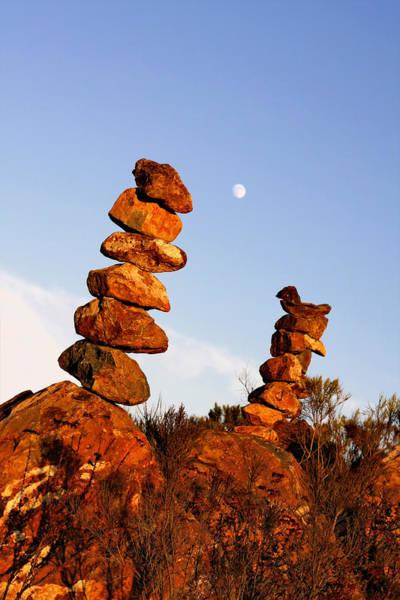 Balancing Rocks Photograph - Balanced Rock Piles by Christine Till