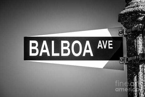 Aves Photograph - Balboa Avenue Street Sign Black And White Picture by Paul Velgos