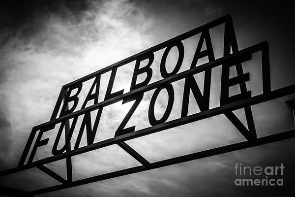 Balboa Photograph - Balboa Fun Zone Sign Picture Newport Beach by Paul Velgos