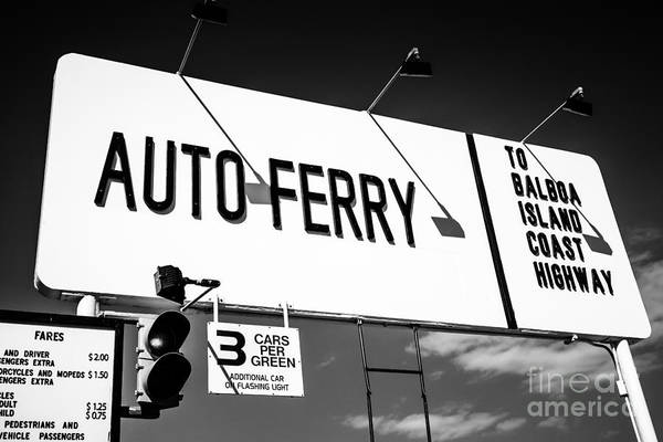 Balboa Photograph - Balboa Island Ferry Sign Black And White Picture by Paul Velgos