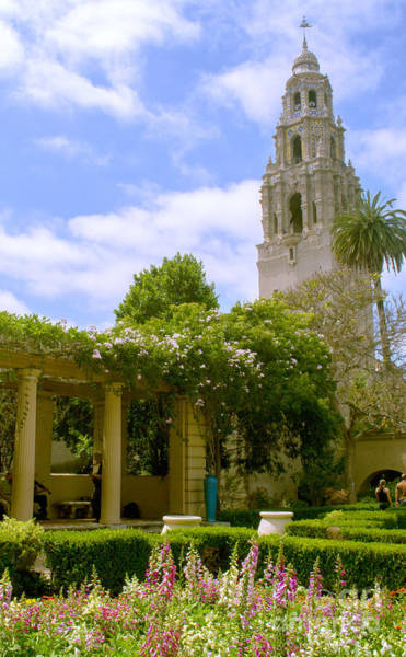 Photograph - Balboa Park Garden And California Bell Tower by Rima Biswas
