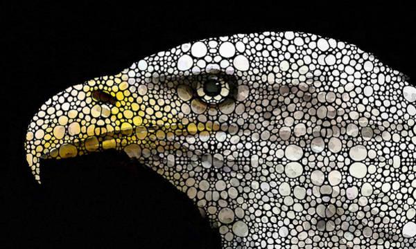 Patriotism Painting - Bald Eagle Art - Eagle Eye - Stone Rock'd Art by Sharon Cummings