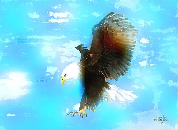 Bald Mixed Media - Bald Eagle In Flight by Arline Wagner
